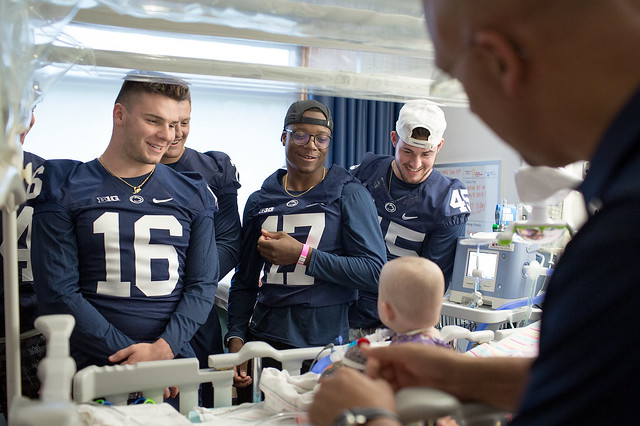 Nittany Lion football players visit Penn State Children's Hospital (2019)