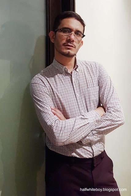halfwhiteboy - maroon motif casual office wear 01