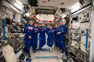 The six-member Expedition 59 crew gathers for a portrait | by NASA Johnson