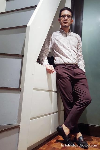 halfwhiteboy - maroon motif casual office wear 02
