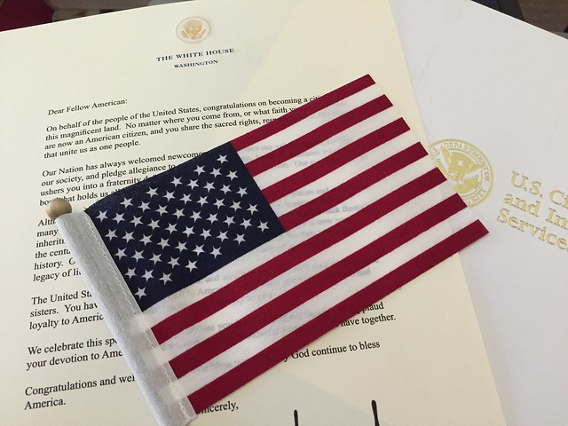 Became a US citizen.