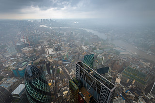 As the rain drifts in touching the clouds at 22 Bishopsgate, London