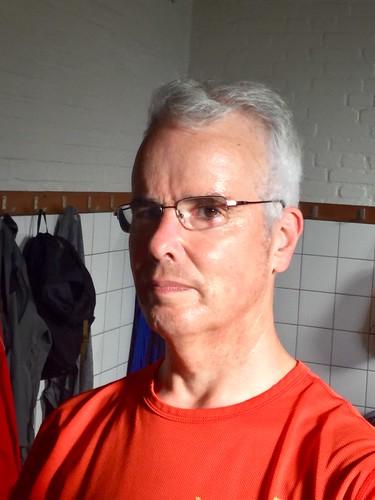 In de kleedkamer na een hete training op dinsdag.