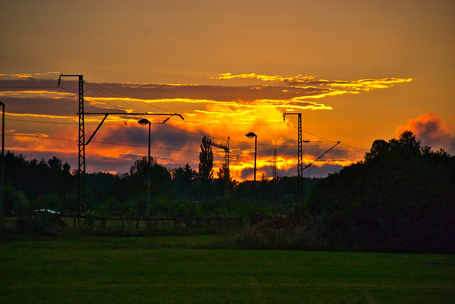Sunset near a railway line