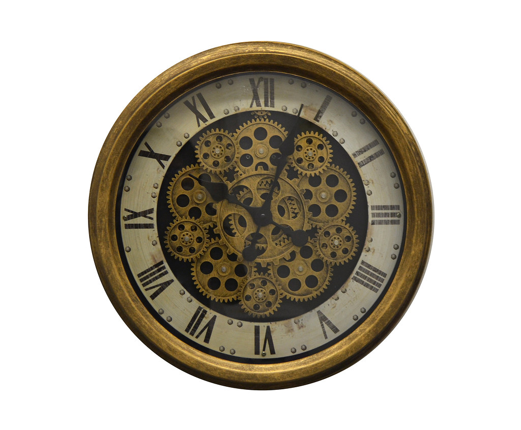 Moving Gears Antique Distressed Gold Metal Wall Clock w/Roman Numerals