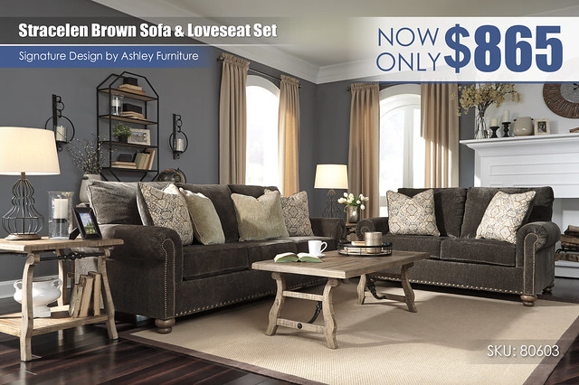 Stracelen Brown Sofa & Loveseat Set_80603-38-35-T824