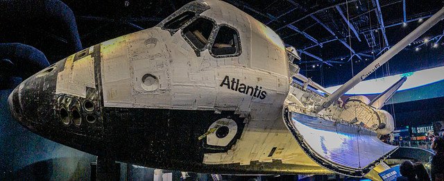Panorama view of Atlantis Space Shuttle at Kennedy Space Center Visitor Complex at Cape Canaveral FL