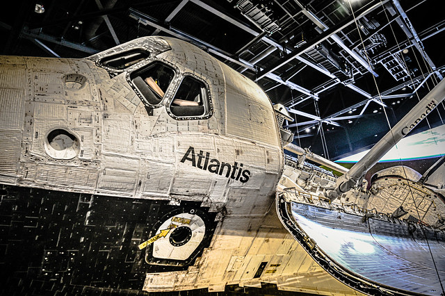 Close up of Atlantis Space Shuttle at Kennedy Space Center Visitor Complex at Cape Canaveral FL