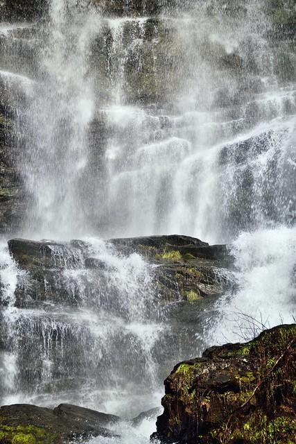 A Close-up of Waters Falling at Amicalola Falls
