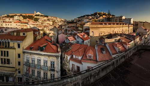 road street city blue houses windows roof sunset sky tower portugal church window skyline evening town view terrace lisbon traditional horizon roofs belfry belvedere façade