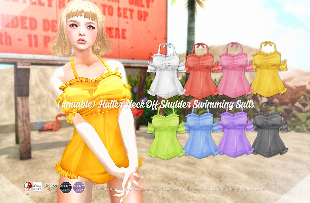 {amiable} Halter Neck Off Shoulder Swimming Suits@SUMMERFEST '19(50%OFF SALE).