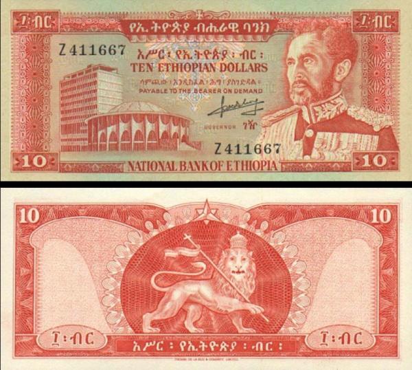10 Dolárov Etiópia 1966, P27a