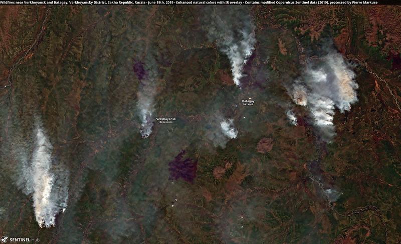 Wildfires near Verkhoyansk and Batagay, Verkhoyansky District, Sakha Republic, Russia - June 19th, 2019