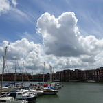 Fluffy clouds over Preston Docks