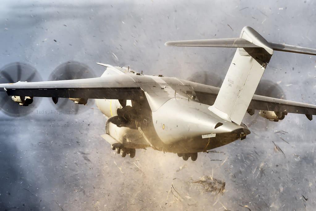 Un A400M del Ejército del Aire despega durante el EATC 2019