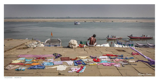 Drying out on the Ghats by the Ganges, Varanasi, India.