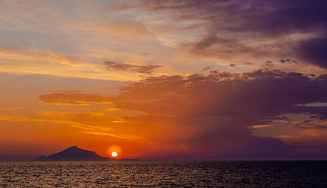 A  Mount Athos Sunset (View from Myrina Town on Limnos (Lemnos)  Greece ( Panasonic Lumix S1 & S Lumix 24-105mm f4 Zoom) (1 of 1)