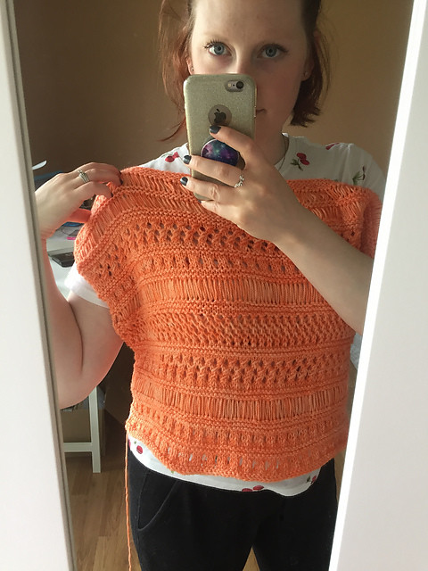 Christina knit herself this new summer top! Pattern is Cancun Boxy Lace Top by Erin Kate Archer.