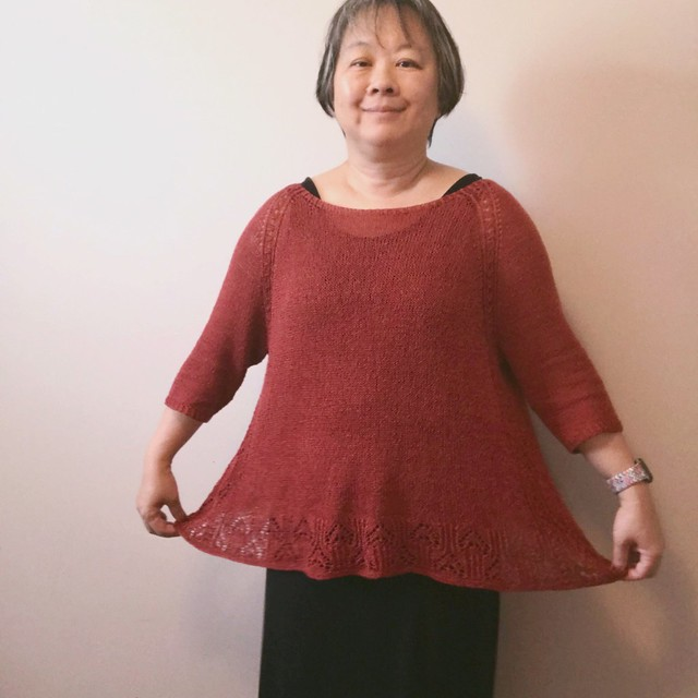 My Tulip sweater by Ririko is off my needles! Knit using one strand of Shibui Reed in Brick.