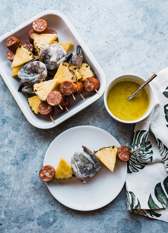 Polynesian Sausage and Shrimp Skewers www.pineappleandcoconut.com