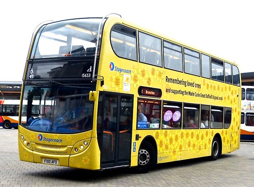 FX10 AFO 'Stagecoach in Lincolnshire' No. 15653. 'Marie Curie Great Daffodil Appeal'. Scania N230UD /  Alexander Dennis Ltd. (ADL) Enviro 400 on Dennis Basford's railsroadsrunways.blogspot.co.uk'