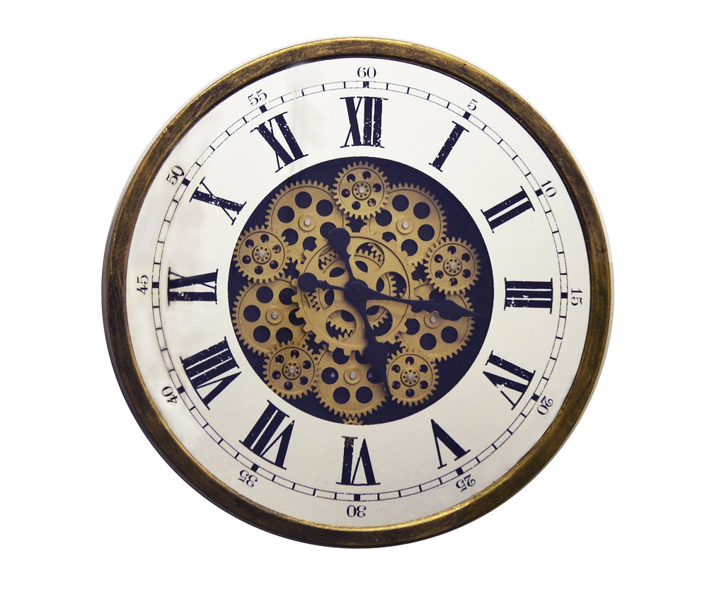 Antique Gold & Mirror Metal Wall Clock w/Moving Gears & Roman Numerals, Battery Operated Vintage Wall Clock for Home Or Office Wall Decor