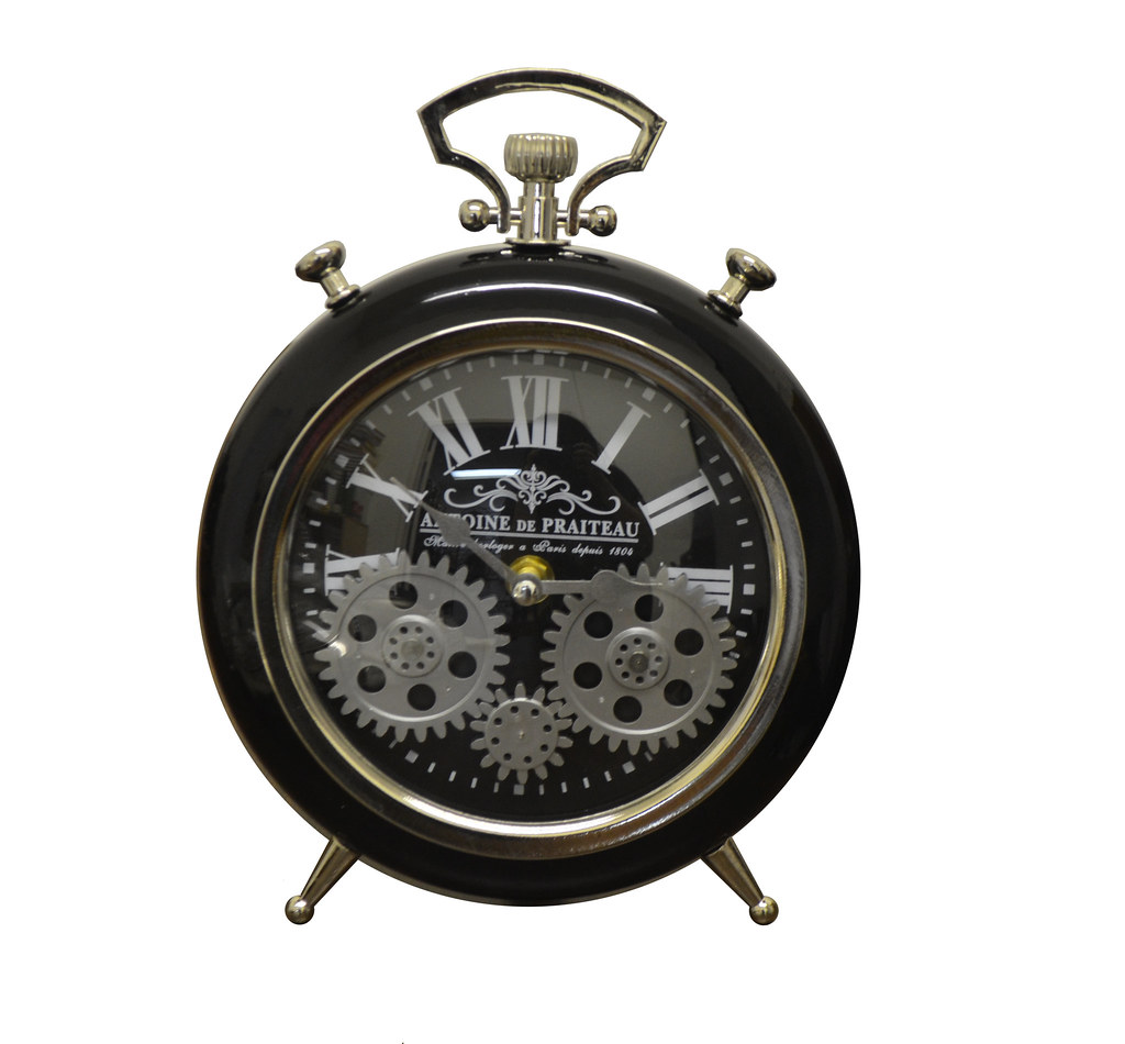 Black Moving Gears Metal Table Clock Pocket Style Roman Numerals Battery Operated