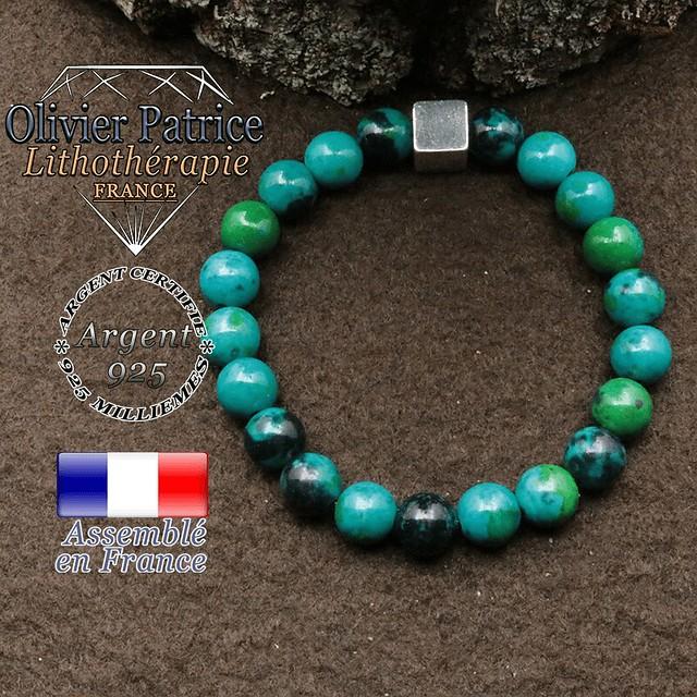Bracelet chrysocolle et petit cube 8 mm en argent 925