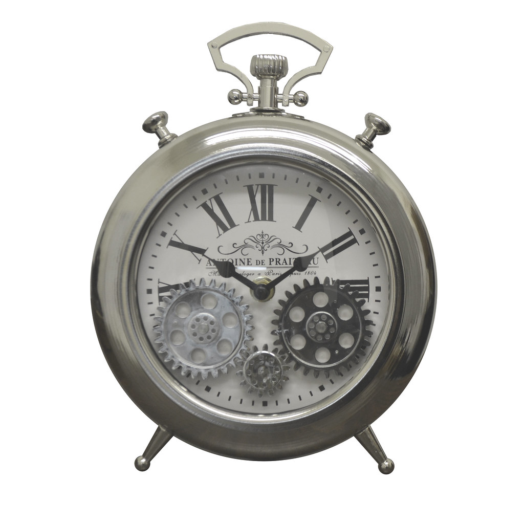 Silver Moving Gears Metal Table Clock Pocket Style Roman Numerals Battery Operated