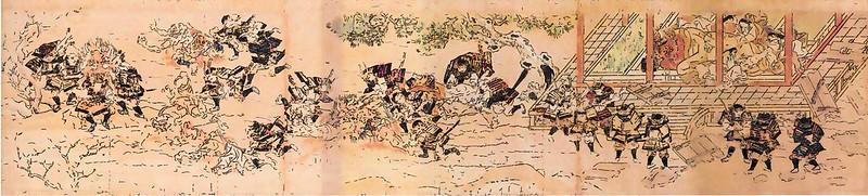 香取本『大江山絵詞』(おおえやまえことば)の絵図(現状の絵巻の原本の「下巻 第七絵図」)のイメージ画像