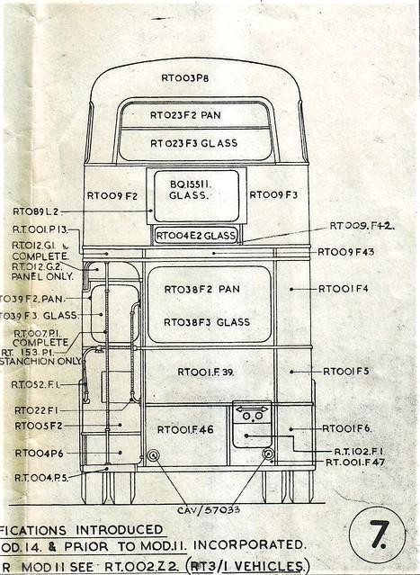 London transport RT3 body line drawing 1949.