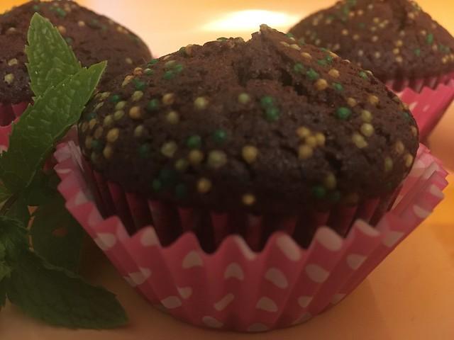 Magdalenas de chocolate y menta