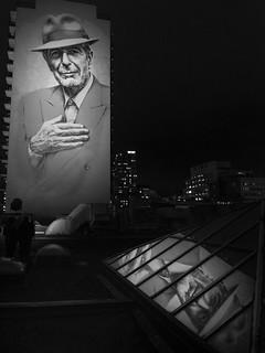 Newly-lit Leonard Cohen mural
