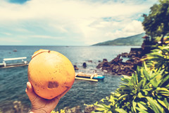 Yellow coconut in man hand