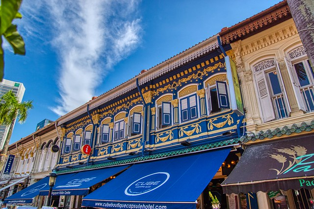 Vibrant and colorful traditional shop houses near Sultan Mosque in Singapore