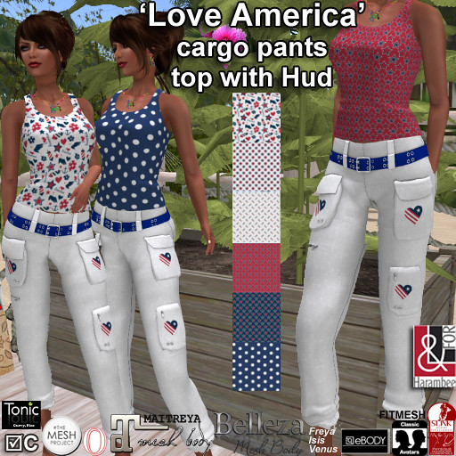 Love America set: pants and top with Hud - TeleportHub.com Live!