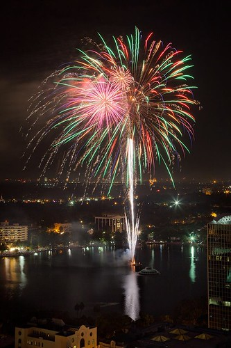 """Fireworks at the Fountain"" in Downtown Orlando"