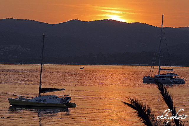 Sunset over St. Tropez bay