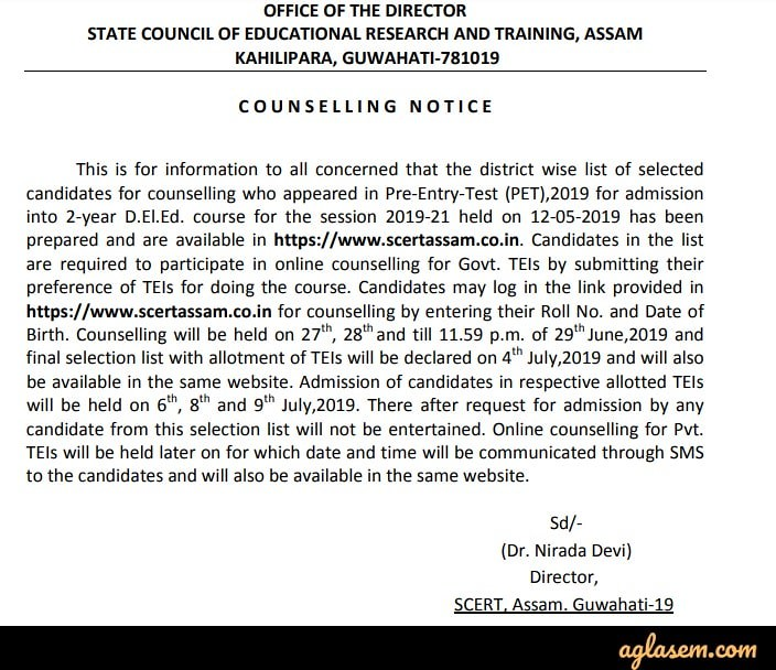 SCERT Assam D El Ed PET Result 2019 (Released) - Check Here