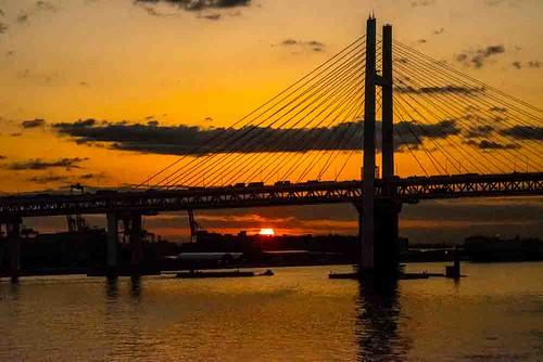 city cruise japan port geotagged tokyo asia ship tourist yokohama worldcruise nikon5300 geo:lat=3545646917 geo:lon=13966276897 bridge columbus sea sky water clouds sunrise dawn bay 201903120730500
