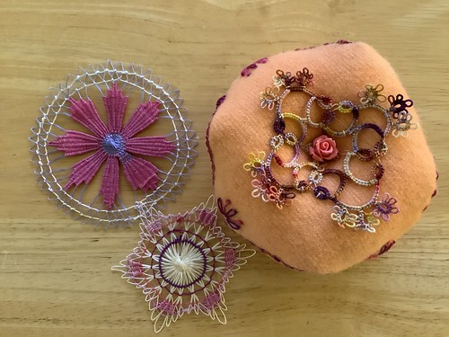 Biscornu pincushion with Tatted motif top and bottom, and Teneriffe Lace