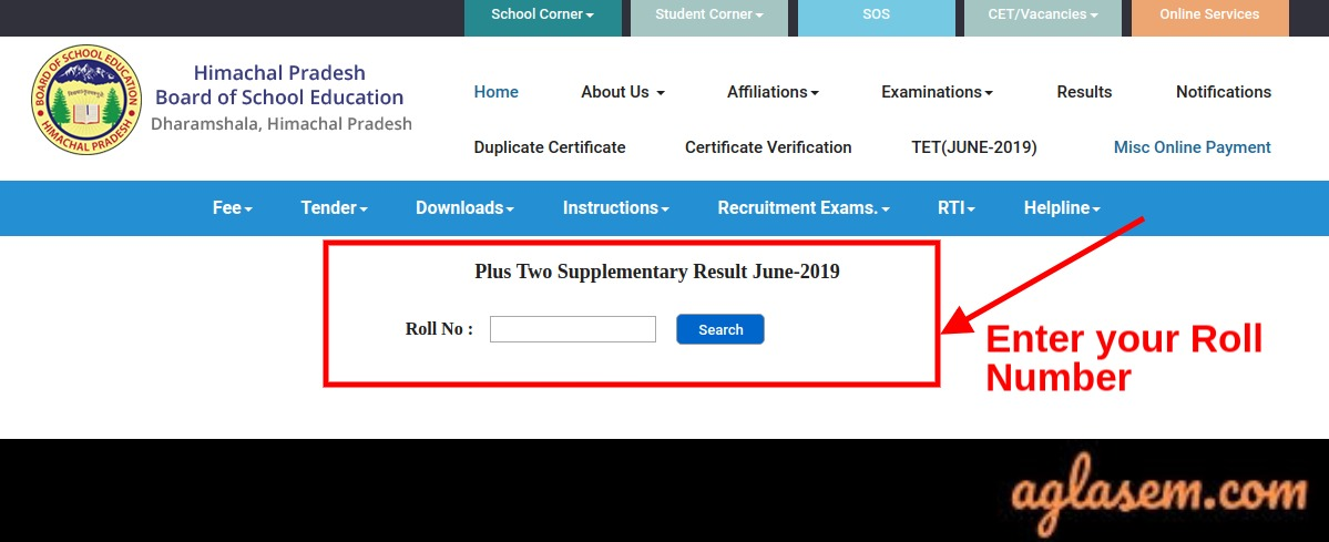 HPBOSE 12th Supplementary Result June 2019