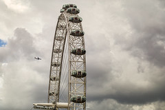 London Eye. Closeup on a cloudy afternoon.