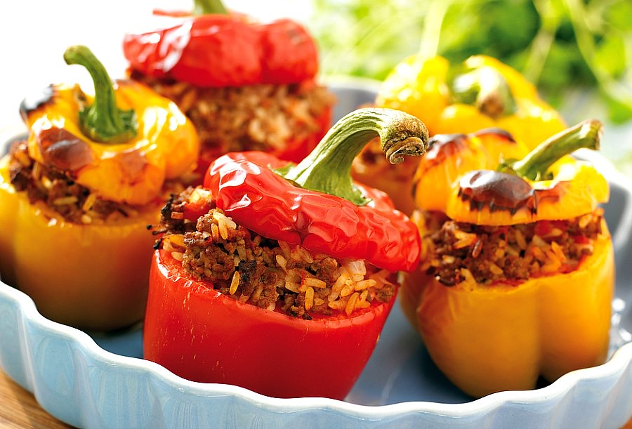 Traditional Romanian Food: Stuffed Squash/Bell Pepper