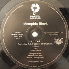 MEMPHIS BLEEK:1,2 Y'ALL(LABEL SIDE-A)