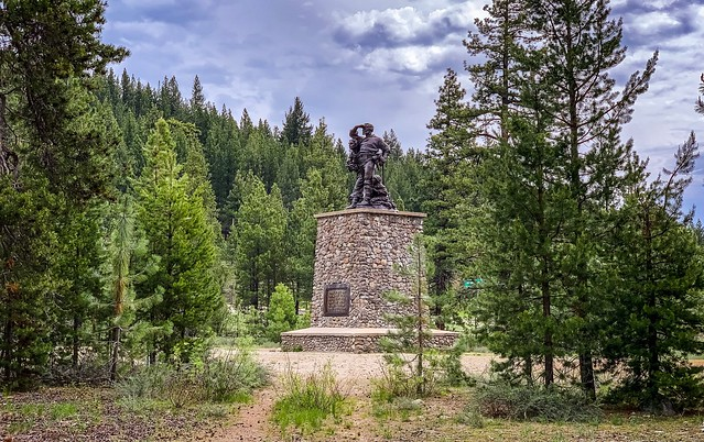 Donner Memorial State Park:  The Pioneer Monument, a memorial to the Donner Party and all other pioneers who trekked across the Sierra Nevada Mountains to California.