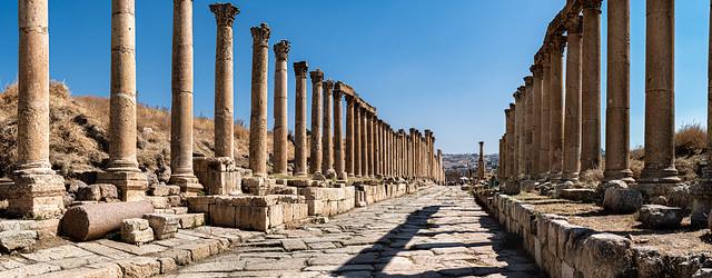 Colonnaded Street, Roman Ruins of Decapolis Site - Gerasa, Jerash Jordan