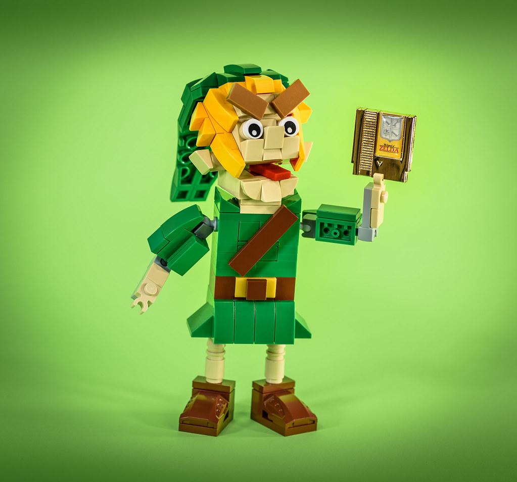 LEGO Link Puppet & Gold Lapel Pin (custom built Lego model)