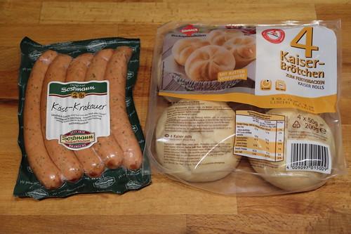 Zutaten für Käse-Krakauer und Kaiserbrötchen