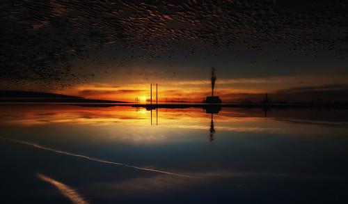 poolbeg dublin bay sandymount sea sunrise power station incinerator sky ripples colour smoke seascape